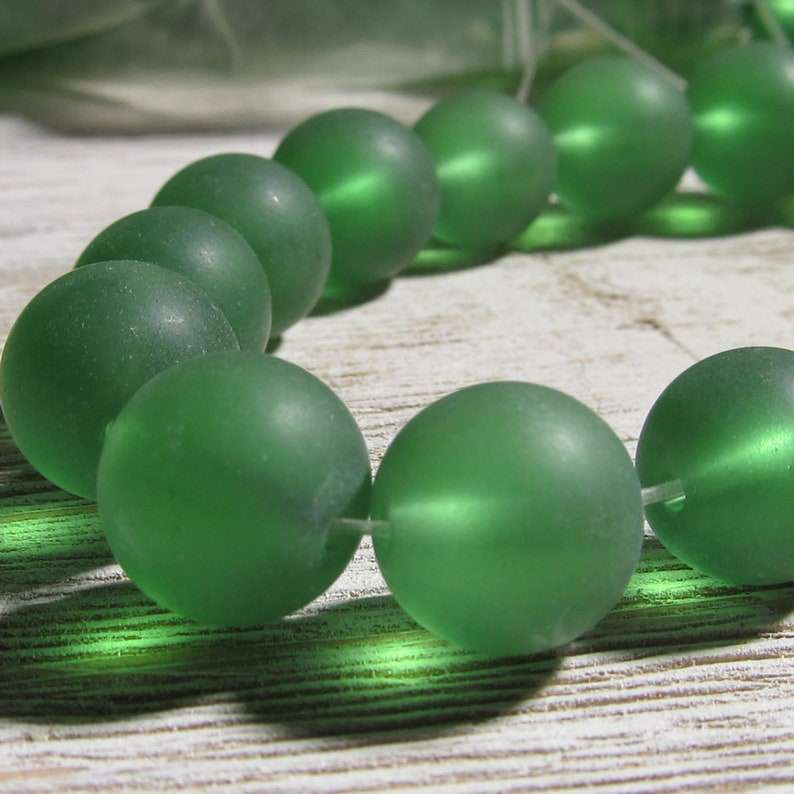 Green Sea Glass Beads 12mm Smooth Frosted Semi Transluscent image 0