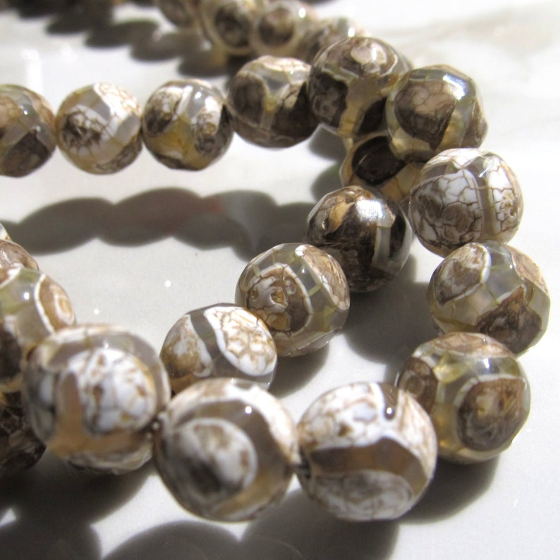 Agate Beads 8mm Natural Gray Earth Tone Multi-shade Primitive image 0