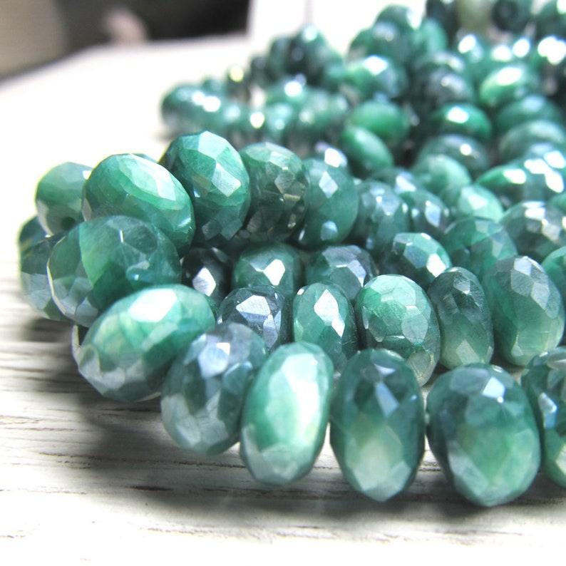Emerald Green Moonstone Rondelle Beads 9 x 5mm Iridescent image 0