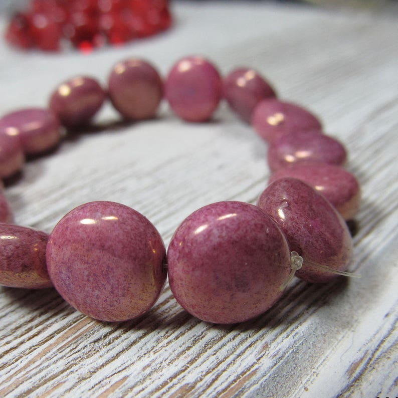 Czech Glass Beads 10mm Opaque Puffed Gold Speckled Pink Smooth image 0