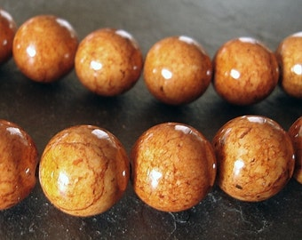 Fossil Beads 4mm Natural Chestnut Brown Smooth Round Stones - 8 inch Strand