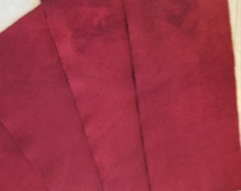 Hand dyed wool fabric - primitive red wool - rug hooking - applique and crafts - dark red wool - quilting - sewing - Christmas red - 0262