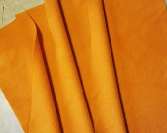 Hand dyed wool fabric -Wild Orange wool - Summer colors - rug hooking - applique and crafts - quilting -brights -orange  -077