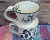 Handmade Ceramic drip coffee maker holder - pottery cone style filter holder - ceramic pourover coffee maker - Pine Cone design - 1733
