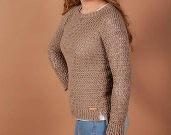 Crochet sweater pattern - Ceres Crochet pullover pattern for women