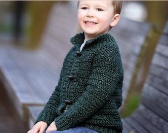 Crochet cardigan pattern, childrens cardigan, boys cardigan, girls cardigan, cardigan for children, crochet, top down, zipper or button