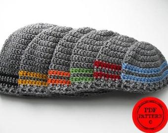 Crochet hat pattern, basic stripe beanie pattern. instant download, hat pattern, boys hat pattern, newborn hat pattern, infant hat, mens hat