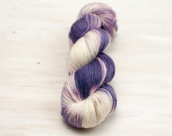 Hand dyed yarn, merino yarn, nylon yarn, sock yarn, hand dyed sock yarn, speckled yarn, purple yarn, brown yarn, grey yarn, fingering yarn