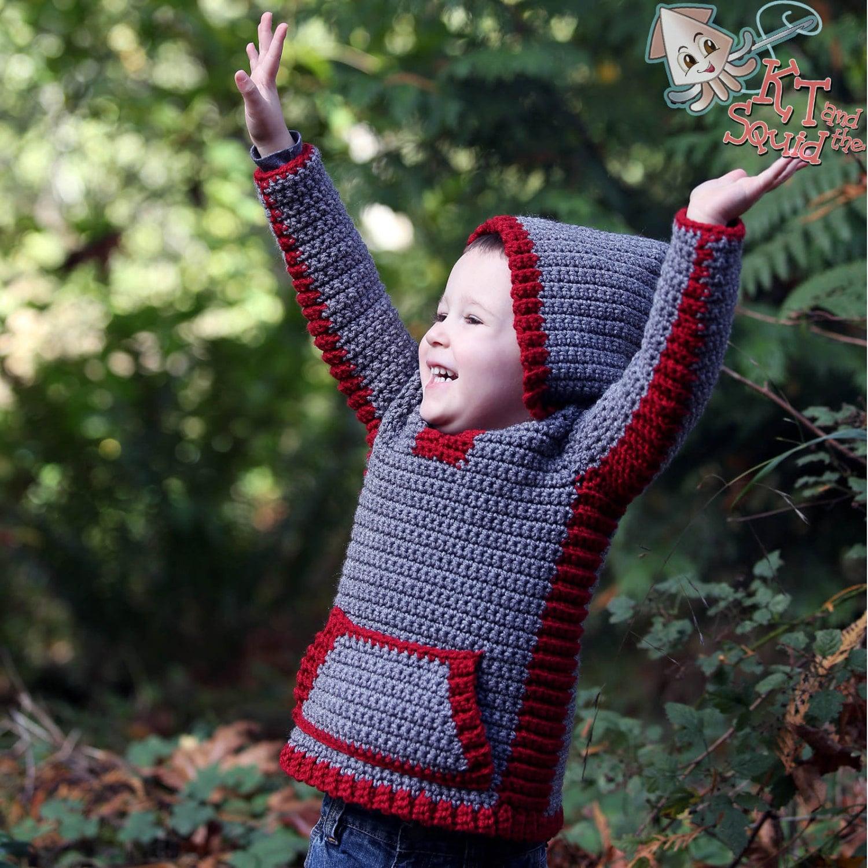 Crochet Hoodie Pattern Crochet Childrens Sweater Boys Etsy