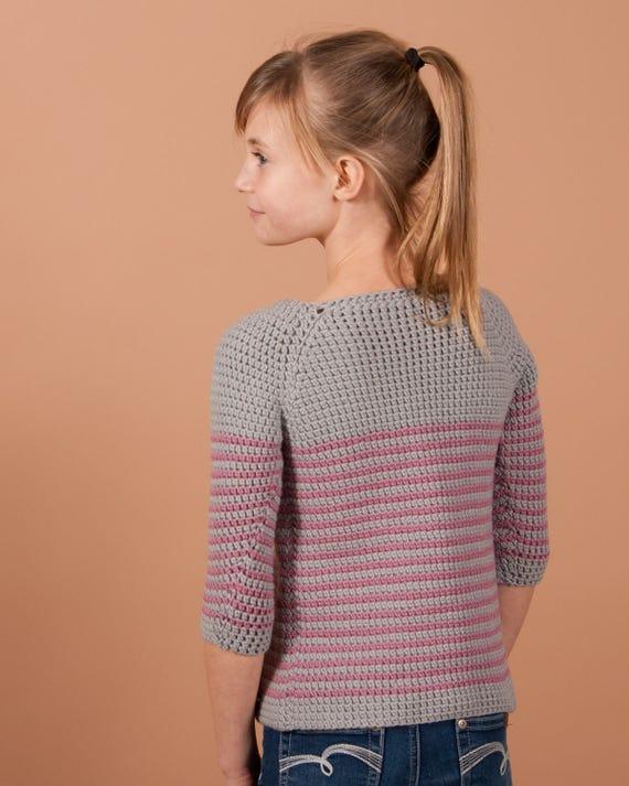 Crochet Sweater Pattern Millburn Crochet Pullover For Girls Etsy