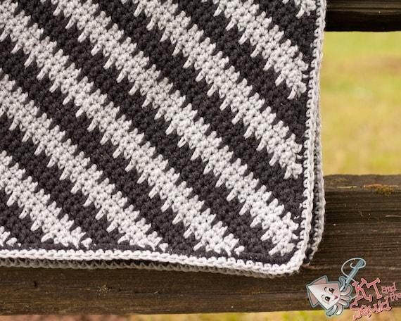Crochet Afghan Pattern Diagonal Stripe Blanket Pattern Etsy