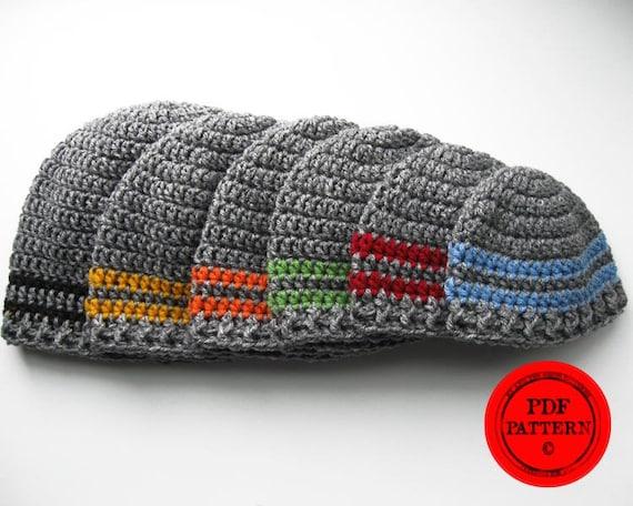 Crochet Hat Pattern Basic Stripe Beanie Pattern Instant Etsy