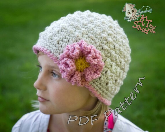 Crochet Pattern Girls Hat Crochet Hat Pattern With Flower Etsy