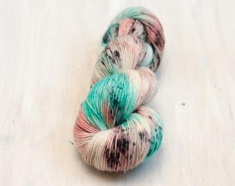 Hand dyed yarn, merino yarn, nylon yarn, sock yarn, hand dyed sock yarn, speckled yarn, coral yarn, blue yarn, fingering yarn