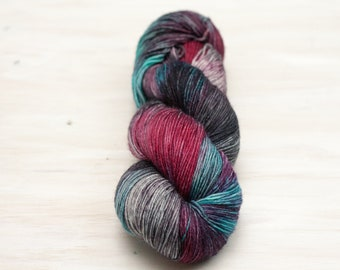 Hand dyed yarn, merino yarn, nylon yarn, sock yarn, hand dyed sock yarn, variegated yarn, pink yarn, blue yarn, grey yarn, fingering yarn
