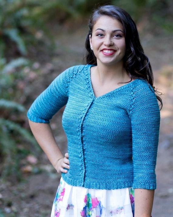 Crochet Cardigan Pattern Women Plus Size Top Down Crochet Etsy