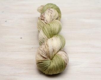 Hand dyed yarn, merino yarn, nylon yarn, sock yarn, hand dyed sock yarn, speckled yarn, green yarn, brown yarn, grey yarn, fingering yarn