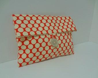 Polka Dot Makeup Bag Retro Clutch - READY TO SHIP