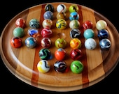 """Marble Solitaire Boards, 8"""", 11"""", 16"""" inch - Glass Marbles Included"""