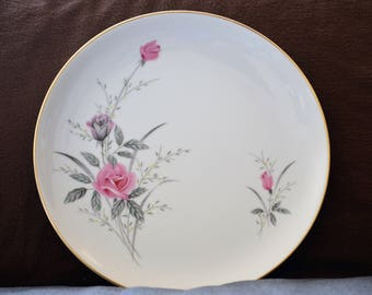 Rose Dinner Plates/Bread Plates/Golden Rose/Fine China/Japan/Pink/Floral Dinnerware/Elegant Dinnerware/Dessert Plates/Serving Plates/50s