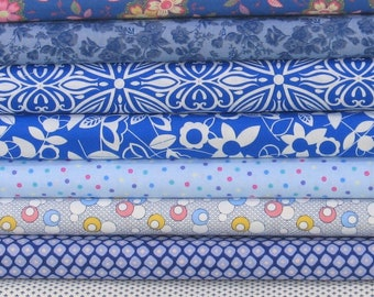 I've Got the Blues Bundle of 8 Quarter Yard Cuts, Cotton Quilt Fabric Bundle on Sale