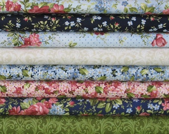 Nine Pink, Red, Blue, Green and Beige Fabrics for Sale, 100% Cotton Quilt Fabric Bundle, Roses on the Vine Collection by Marti Michell