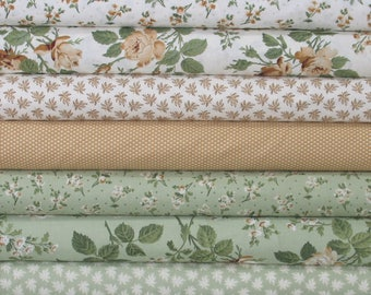 Eight Brown, Tan, White and Green Floral Fabrics for Sale, 100% Cotton Quilt Fabric Bundle, Evelyn by Whistler Studios, Fat Quarter