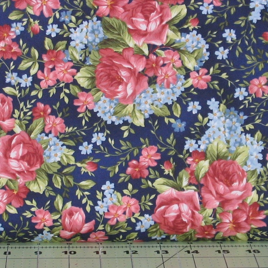 Pink and red roses with blue flowers on navy blue cotton quilt etsy zoom izmirmasajfo