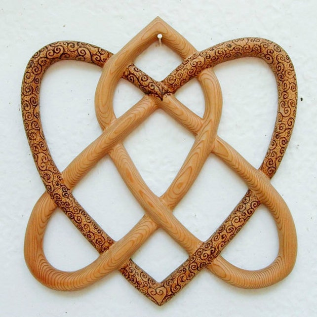Wood Burned Irish Love Knot Traditional Celtic Knot Two Etsy