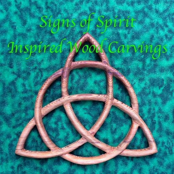 Triquetra Wood Carved Celtic Knot Celtic Triple Goddess Wiccan Etsy