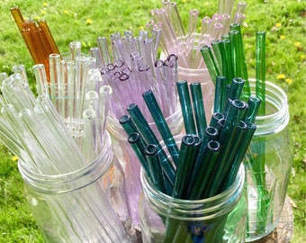 3 pack reusable glass drinking straws  with free cleaning brush keikosbeadbox