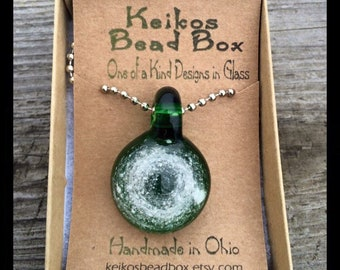 "Handmade custom made glass cremation memorial pendant ""Eternity Bead"" keikos bead box"