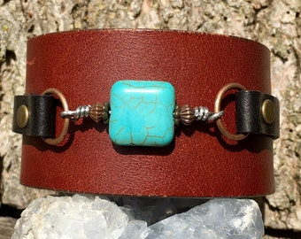 Handmade one of a kind leather cuff bracelet with turquoise stone keikosbeadbox