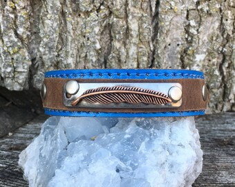 Handmade one of a kind leather cuff feather bracelet recycled keikosbeadbox