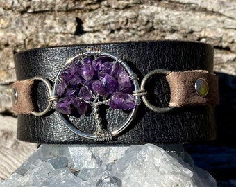 Handmade one of a kind leather cuff bracelet with tree of life and amethyst stones keikosbeadbox