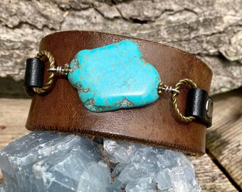 Handmade one of a kind leather cuff bracelet with turquoise stone keikosbeadbox