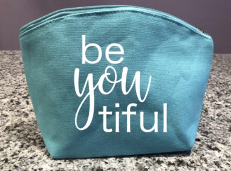 3683e61c88cc Cosmetic Bag | Makeup Bag | Travel Bag | Bridesmaid Gift | Be YOU tiful |  Beautiful | Canvas bag | teal | gifts