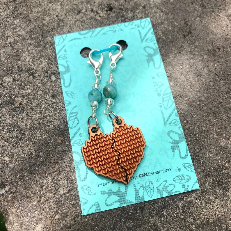 Knit Yarn Friendship Heart Charms Stitchmarker with Blue image 0