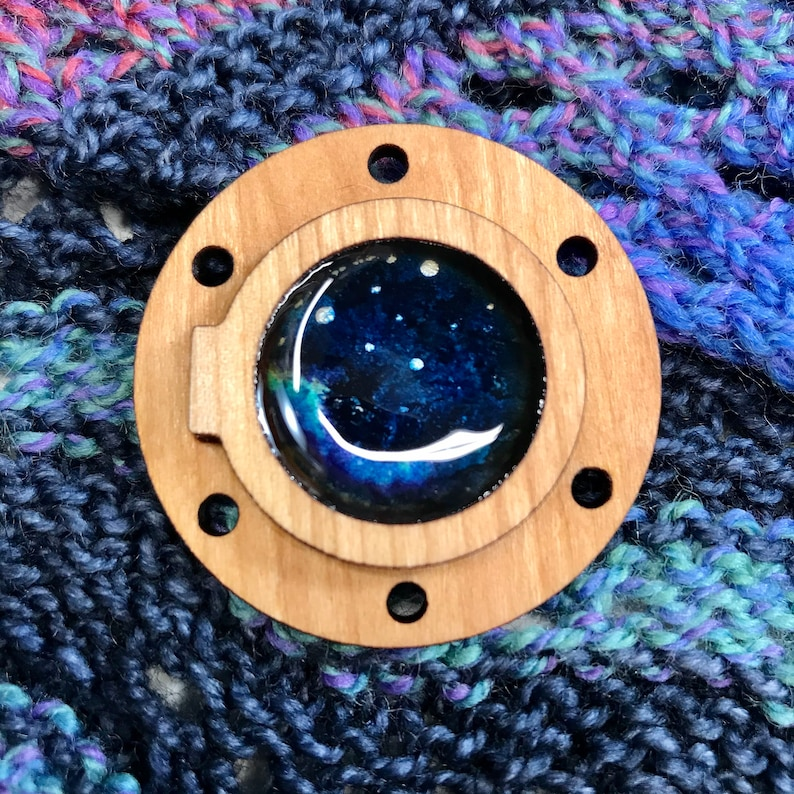 Stardust Porthole  Cherry Wood brooch back pin for shawls image 0
