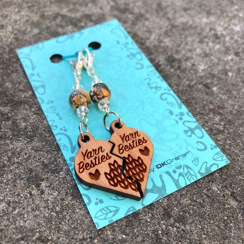 Yarn Besties Friendship Heart Charms Stitchmarkers with Yellow image 0