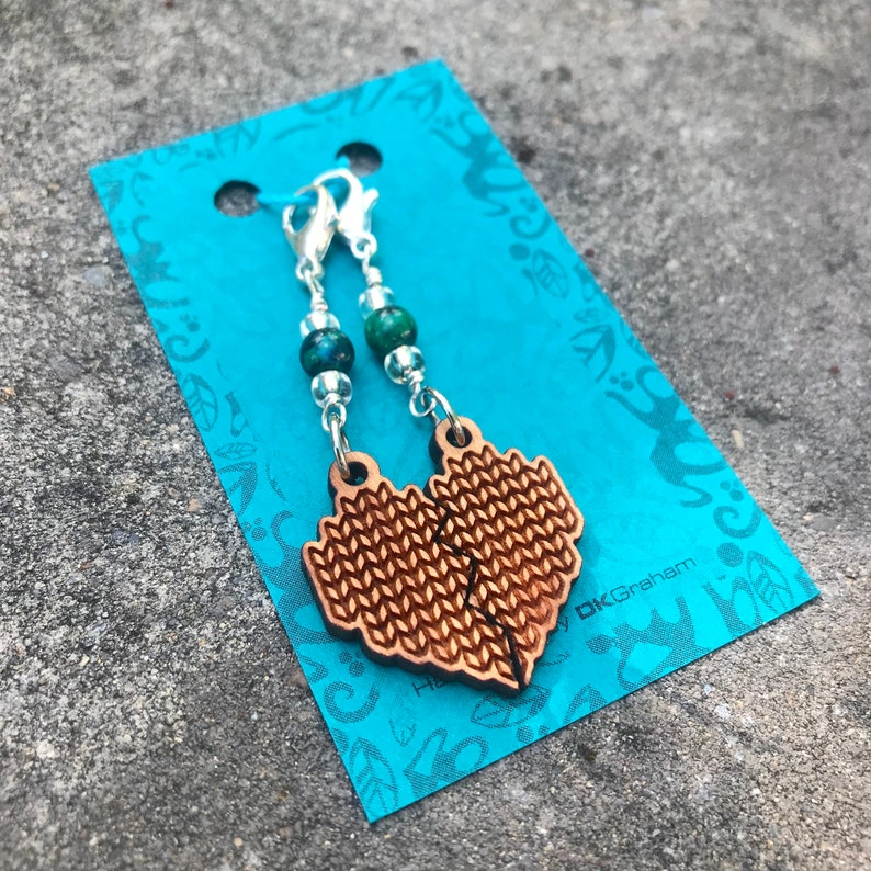 Knit Yarn Friendship Heart Charms Stitchmarker with Jasper image 0