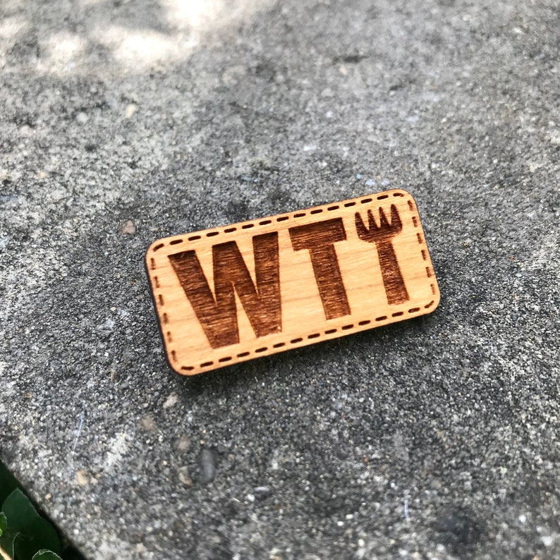 WTF What The Fork Cherry Wood brooch back pin for bags hats image 0