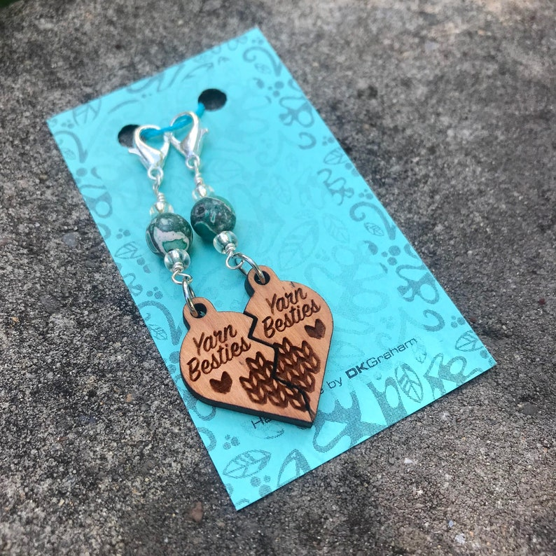Yarn Besties Friendship Heart Charms Stitchmarkers with Teal image 0