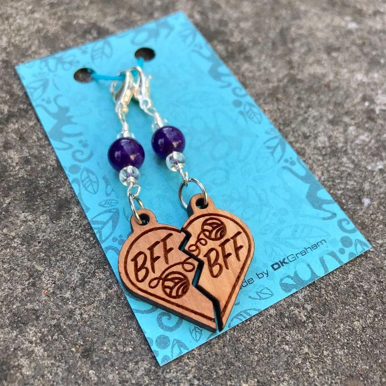 BFF Yarn Friendship Heart Charm Stitchmarker with Purple Stone image 0