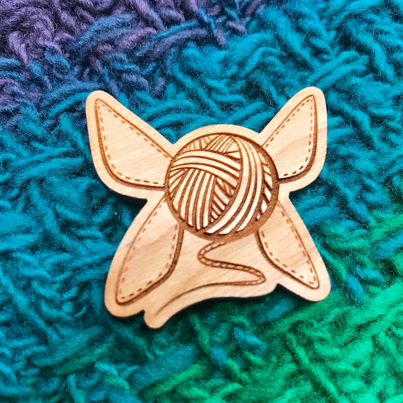 Yarn Fairy  Cherry Wood brooch back pin for bags hats and image 0