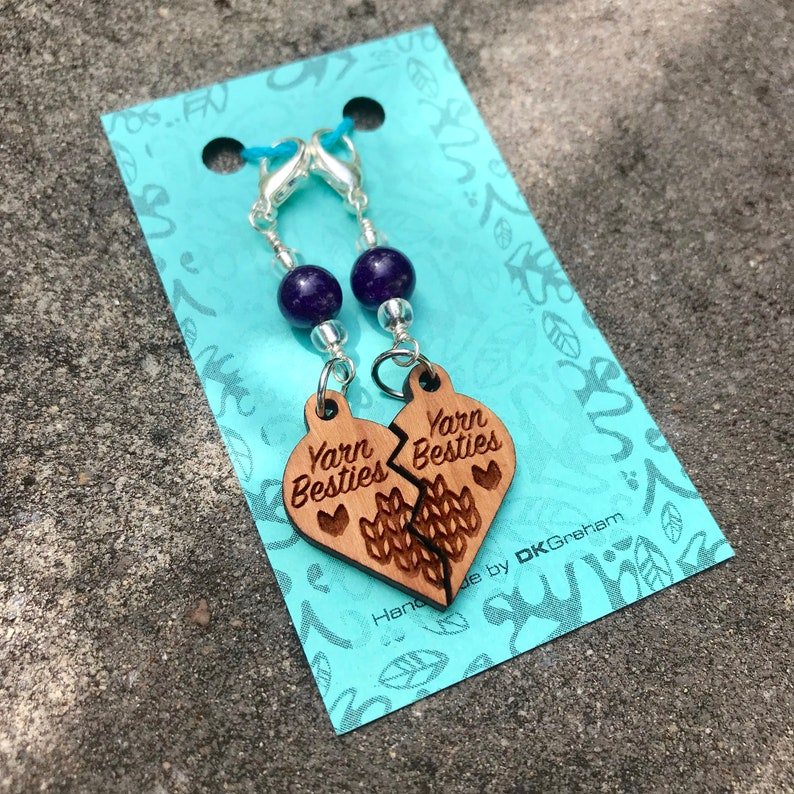 Yarn Besties Friendship Heart Charms Stitchmarkers with Purple image 0