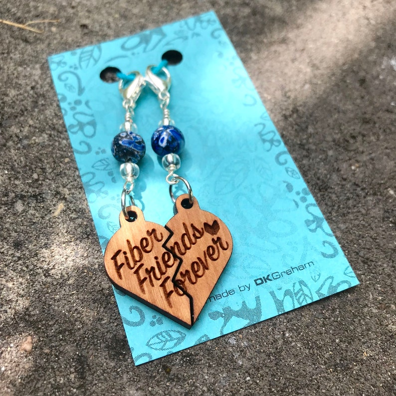 Fiber Friends Forever Friendship Heart Charms Stitchmarker image 0