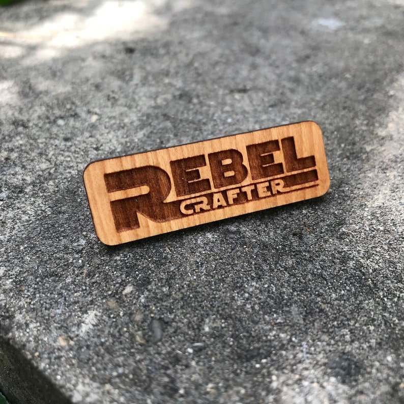 Rebel Crafter Cherry Wood brooch back pin for bags hats and image 0