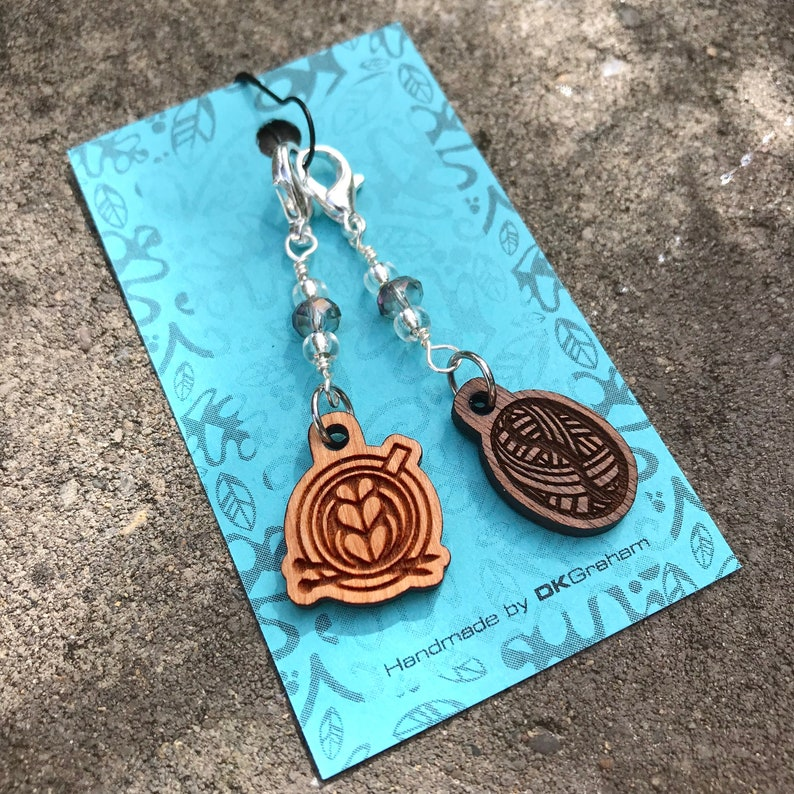 Knit A Latte Coffee Yarn Charm Stitchmarker with Iridescent image 0