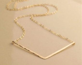 Gold Chevron Necklace, Gold V Necklace, Hammered Bar Necklace, 14k Gold Filled, Hammered Chevron Necklace, Hammered V, Mother's Day Gift